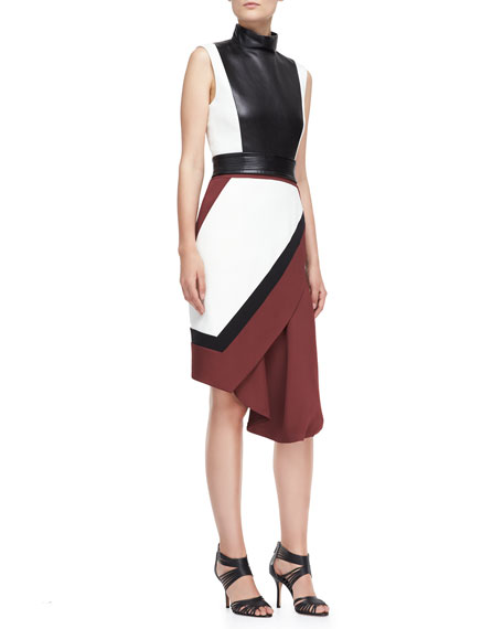Funnel-Neck Wrap Skirt Dress