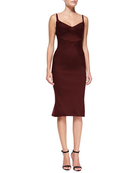 Sleeveless Seamed Satin Sheath Dress