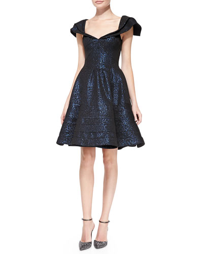 Zac Posen Cap-Sleeve Jacquard Party Dress