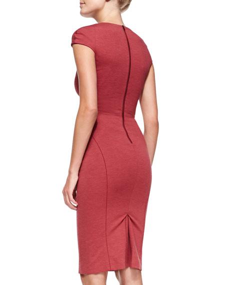 Cap-Sleeve Bandage Sheath Dress