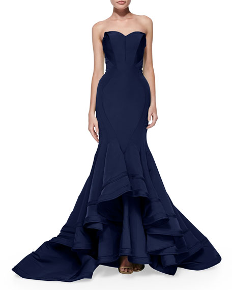 Strapless Seamed Mermaid Gown
