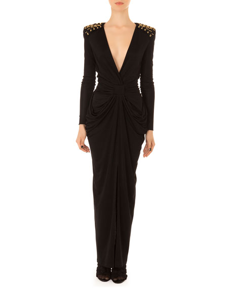 Plunging Embellished Drape Gown