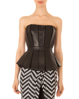 Balmain Pleated Leather Peplum Bustier