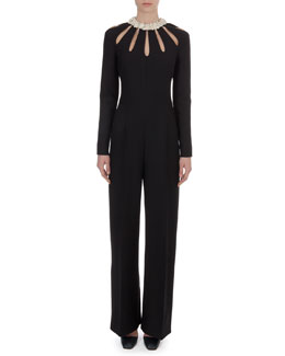 Valentino Leather-Collar Cutout Crepe Jumpsuit