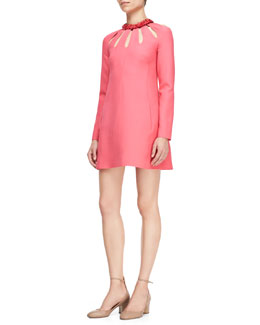 Valentino Long-Sleeve Minidress with Cutout Neckline