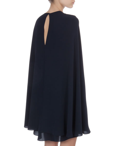 Short Cape-Back Silk Dress