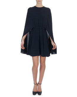 Valentino Short Cape-Back Silk Dress