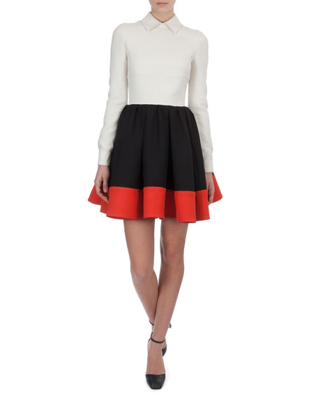 Colorblock Crepe Full-Skirt Shirtwaist dress