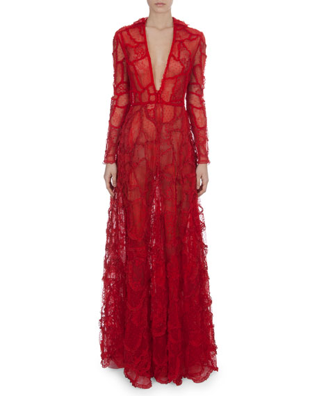 Long-Sleeve Deep-V Lace Patchwork Gown