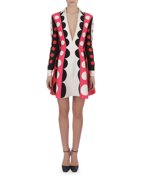 Carmen Stripe Dot Dress with Plunging Neck