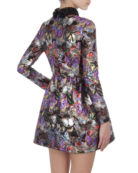 Metallic Butterfly-Print Dress with 3-D Flower Collar