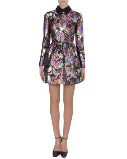 Valentino Metallic Butterfly-Print Dress with 3-D Flower Collar