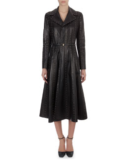 Valentino Long Studded Paneled Leather Trench Coatdress, Black