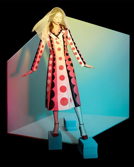 Carmen Striped Polka-Dot Leather Trench Coat