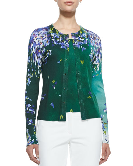 Long Sleeve Floral Cardigan, Green/Violet