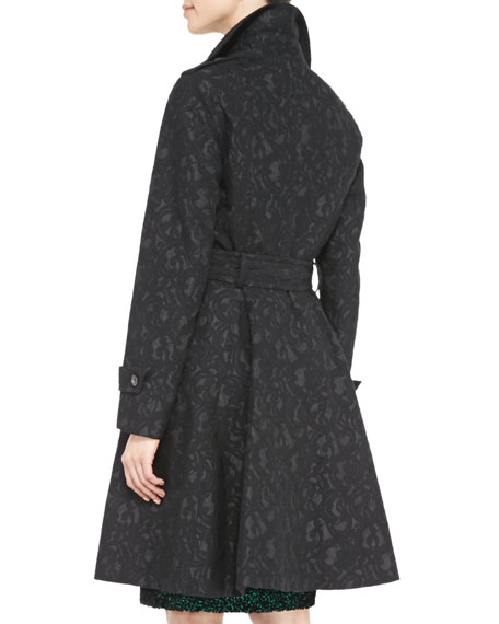 Double-Breasted Patterned Trench Coat, Black