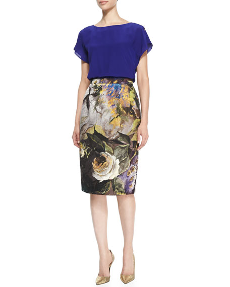 Abstract Floral Jacquard Pencil Skirt