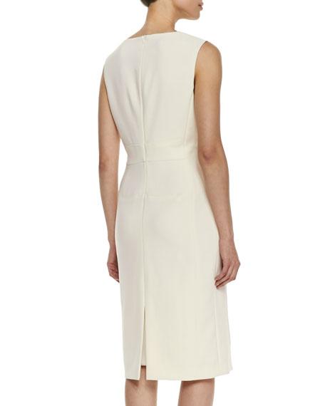 Sleeveless Split-Neck Sheath Dress
