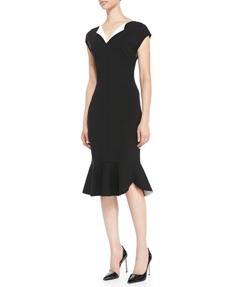 Cap-Sleeve Ruffle-Bottom Dress