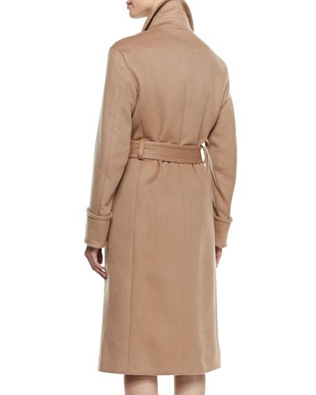 Cashmere Tie-Waist Trench Coat, Caramel