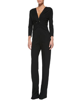Escada Long-Sleeve Pantsuit Illusion Jumpsuit