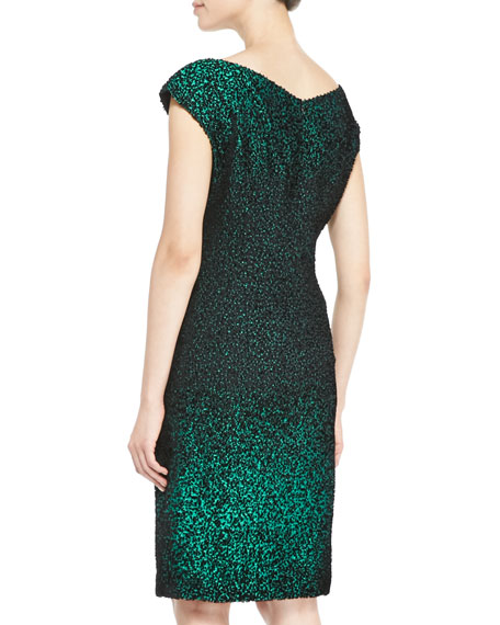 Cap-Sleeve Metallic Sheath Dress, Green/Black
