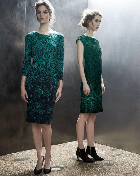 Cap-Sleeve Metallic Sheath Dress, Green/Black