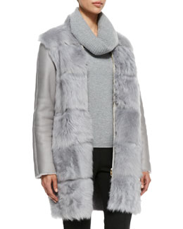 Escada Shearling Fur-Front Zip Coat
