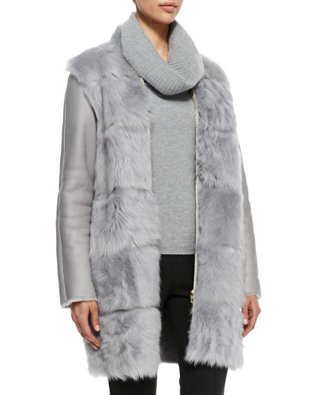 Shearling Fur-Front Zip Coat