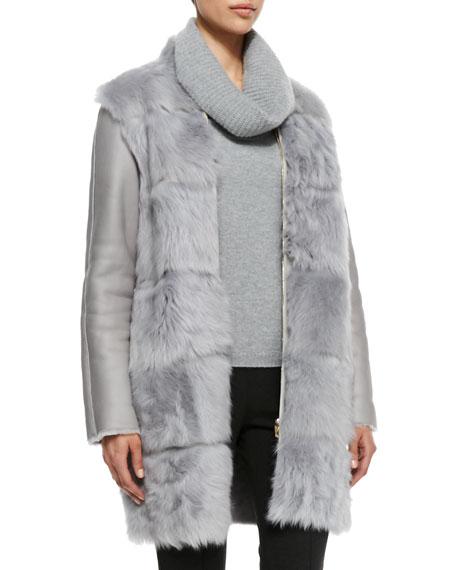 Shearling Fur-Front Zip Coat