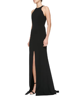 Escada Sleeveless Front-Slit Open-Back Gown