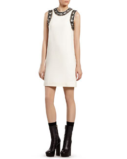 Gucci White Silk Dress with Beaded Chain Embroidery