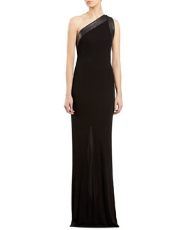 Gucci Black Stretch Jersey One-Shoulder Gown
