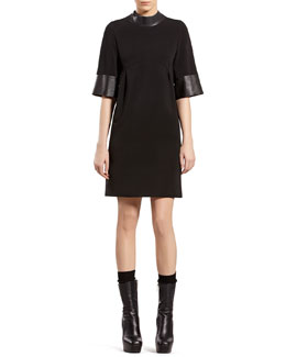 Gucci Black Jersey Dress with Leather Detail