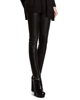 Gucci Black Stretch Leather Leggings