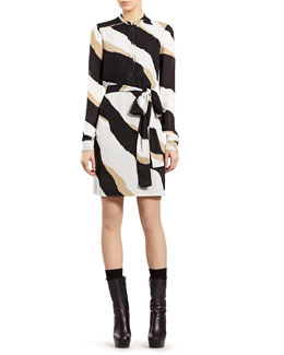 Gucci Zebra Print Silk Georgette Shirtdress