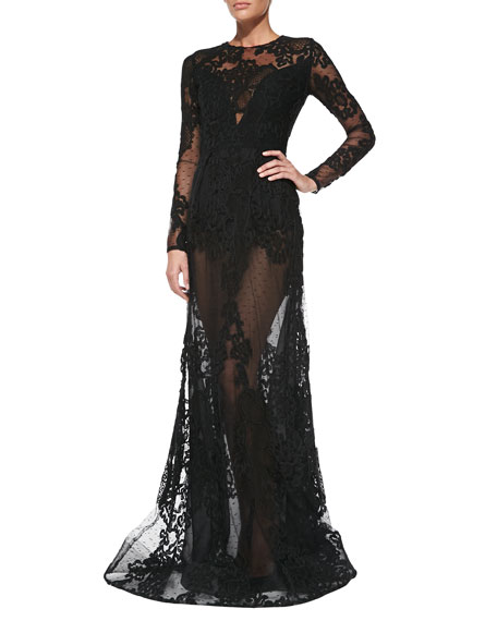 Long-Sleeve Sheer-Lace Gown
