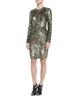 Elie Saab Long-Sleeve Sequined & Beaded Cocktail Dress
