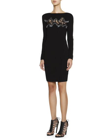 Long-Sleeve Dress with Zigzag Lace Inset
