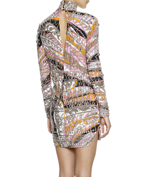 Long-Sleeve Studded Printed Sheath Dress, Pink/Multi