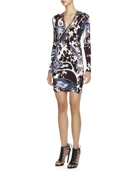 Appaloosa-Print Long-Sleeve Dress with Chain Detail