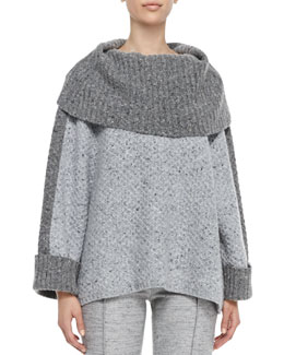 Carolina Herrera Turtleneck Box Sweater, Light Gray