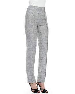 Carolina Herrera Melange Tweed Trousers, Light Gray