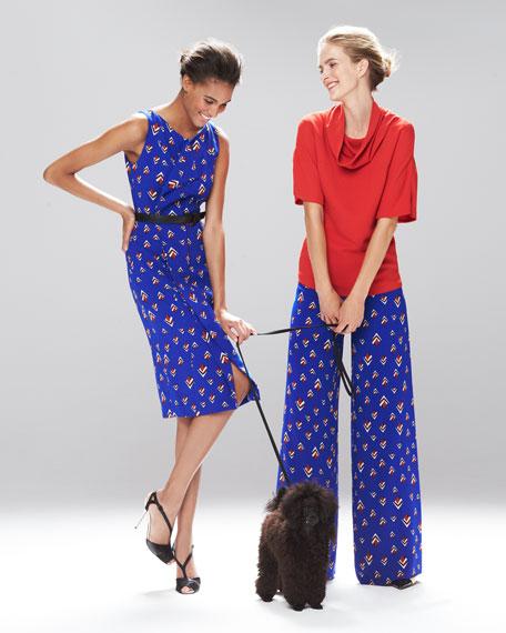 Sleeveless Diamond-Print Dress, Cobalt Blue