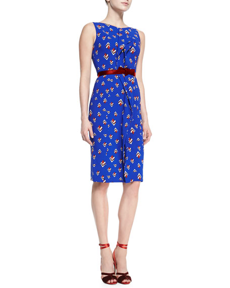 Carolina Herrera Sleeveless Diamond-Print Dress, Cobalt Blue