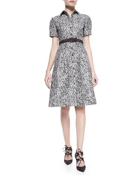 Pixelated Shirtdress, Ivory/Black/Multi