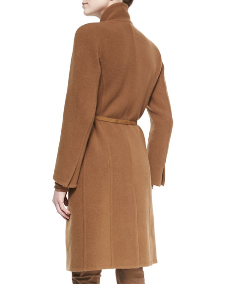 Belted Wool-Blend Officer Coat