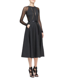 Donna Karan Mesh-Sleeve Belted Dress