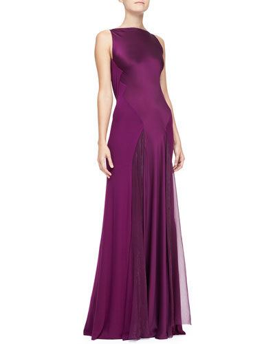 Donna Karan Cowl-Back Bi-Fabric Evening Gown