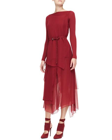 Long-Sleeve Belted Paneled Dress